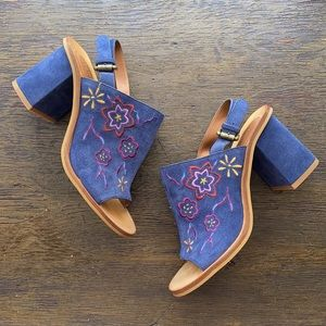 See by Chloe Floral Embroidered Block Heels 6 Blue